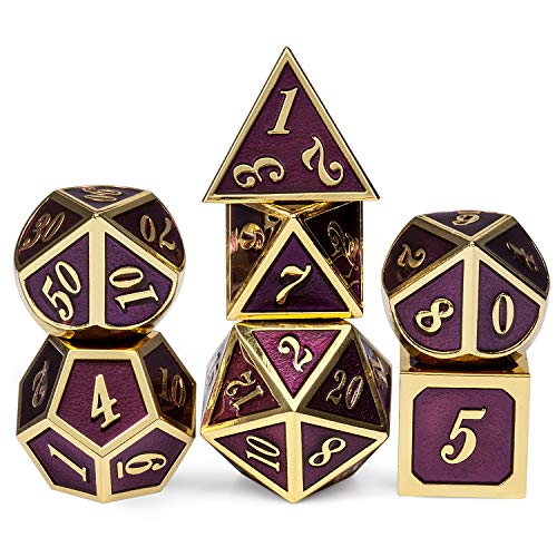 Table Game Metal Dice Set, 7PCS D&D Metal Die with Metal Gift Box for Tabletop Games Dungeons and Dragons Dice (Dark Purple and Gold Number)