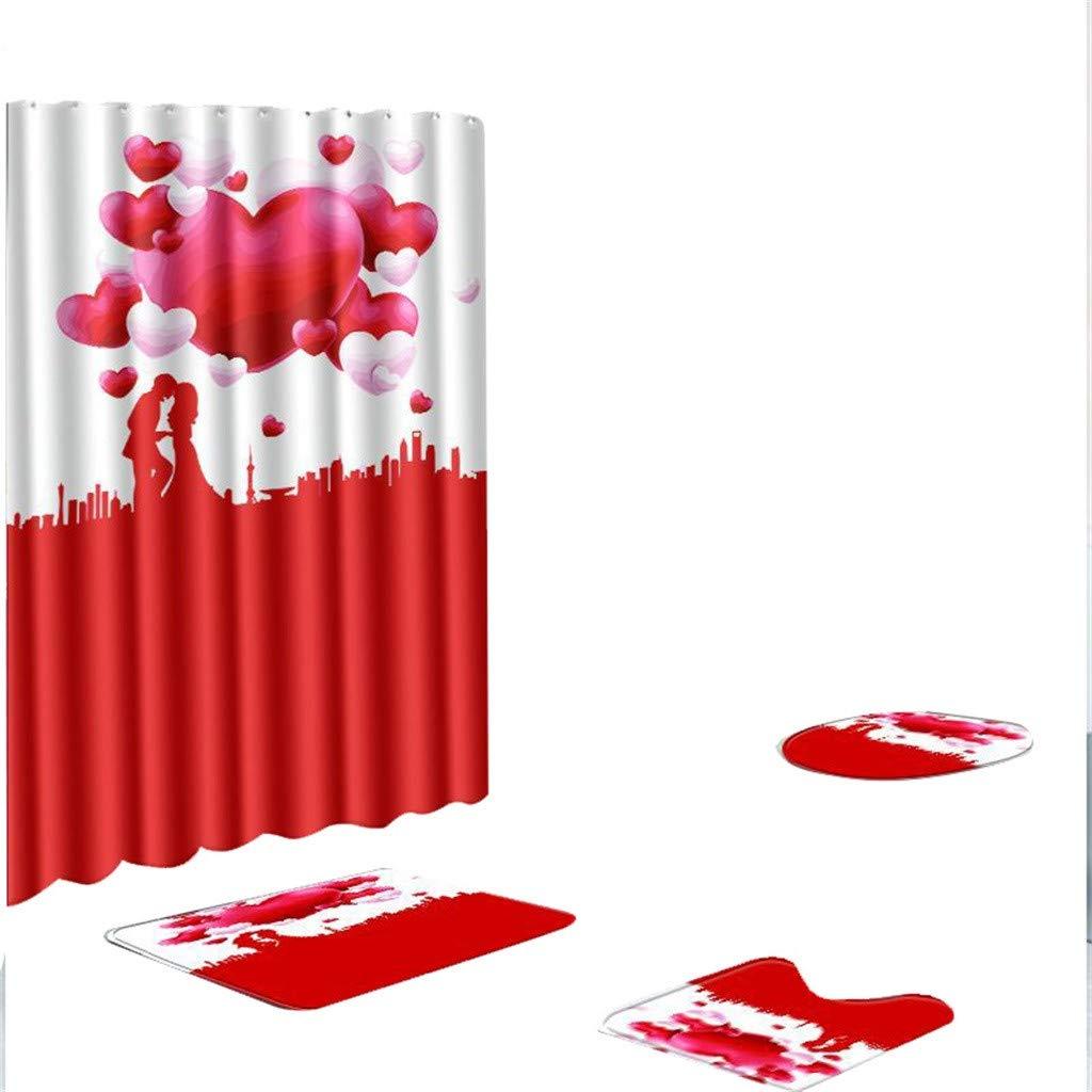 C-Easy 2019 4 Pieces Non-Slip Flower Print Rug Mat, Non-Slip Toilet Seat Cover Rug Set With Shower Curtain, Memory Foam Polyester Contour Bath Mat Bathroom Kitchen Carpet Door Mats Decor