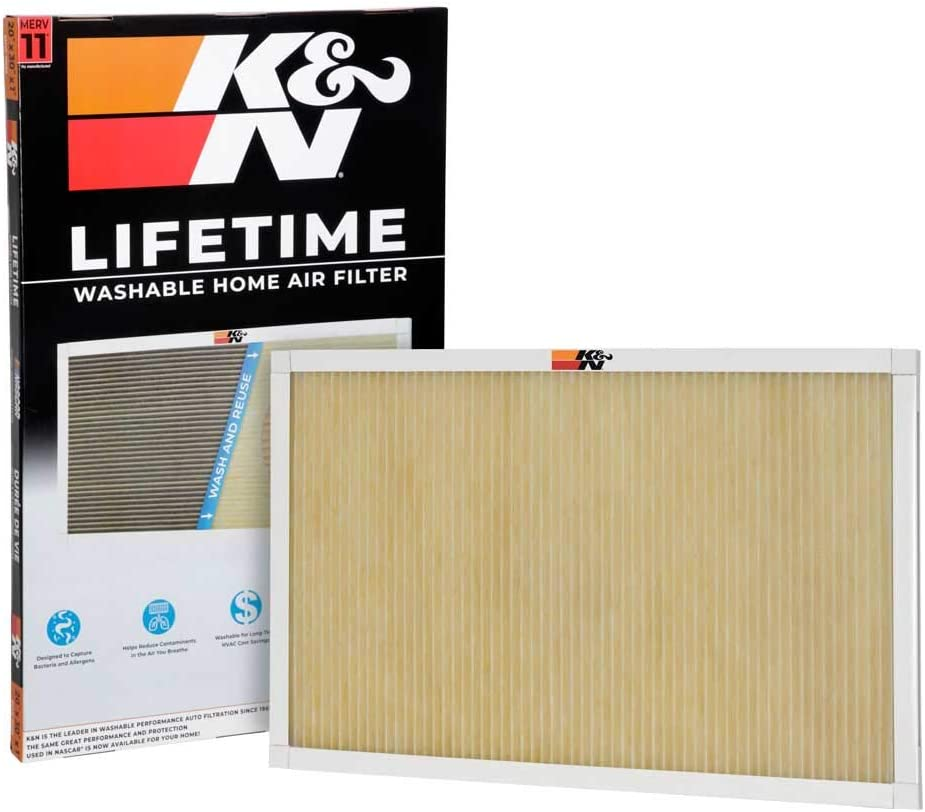 K&N Home Reusable Air AC Furnace Filter, 20x30x1