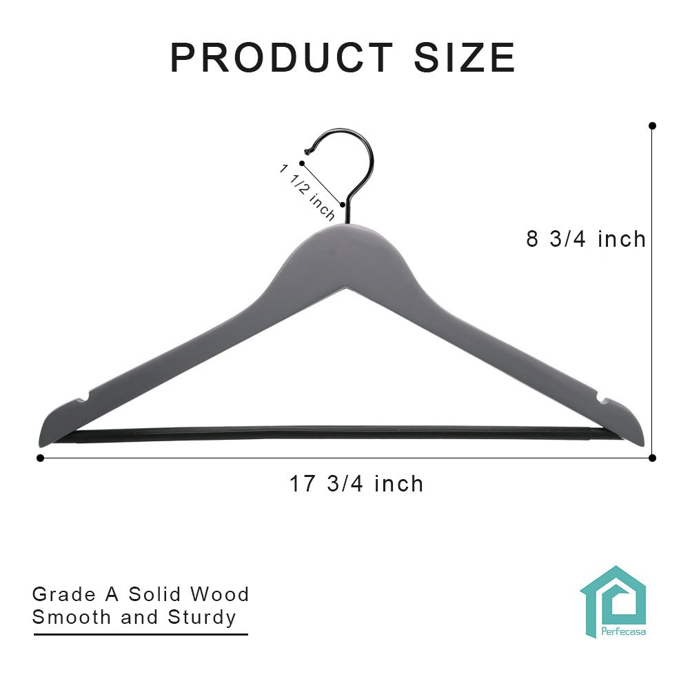 Perfecasa Grade A Solid Wood Hangers 20 Pack, Suit Hangers, Coat Hangers, Premium Quality Wooden Hangers (Gray) by Perfecasa (Image #7)
