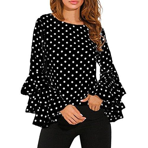 Kangma Women Bell Long Sleeve Loose Polka Dot Shirt Ladies Casual Tops Blouse Black