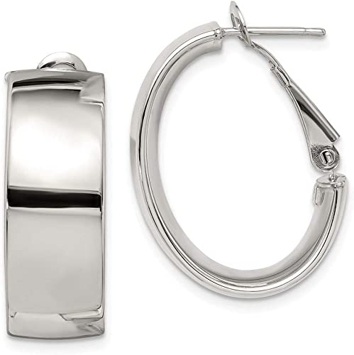 925 Sterling Silver Polished Hoop Earrings