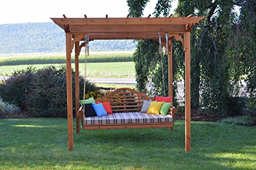 Cedar Arbor Swing - A&L Furniture Co. 8' x 10' Amish-Made Cedar Pergola with 75