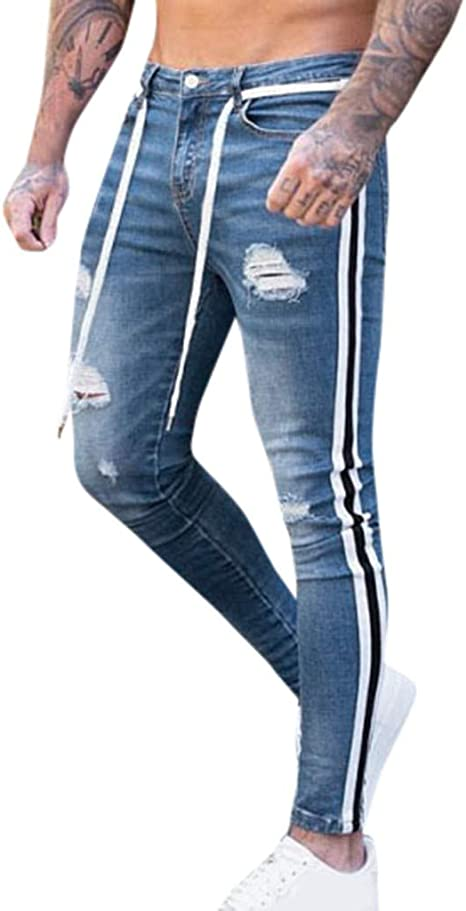 mens Skinny jeans Ripped Destroyed Denim Pant Stretchy Bike jeans Sports Pants