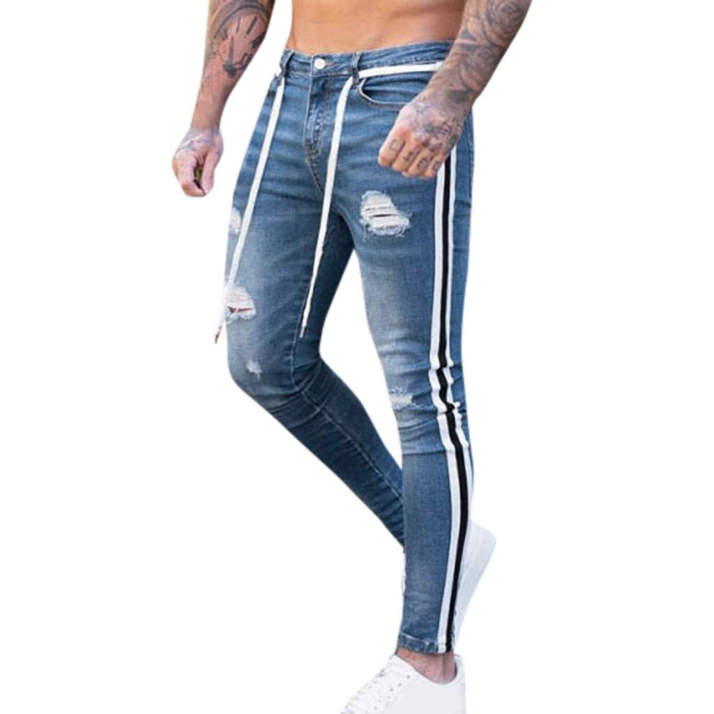 Leadmall Men's Stretch Skinny Jeans | Men Fashion Slim Fit Ripped Destroyed Side Striped Denim Pants | Casual Bike Skate Board Tapered Trousers by Leadmall
