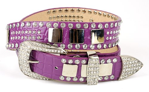 Women's Faux Patent Leather Crocodile Design Belt w/ Rhinestones DM300, Purple, L