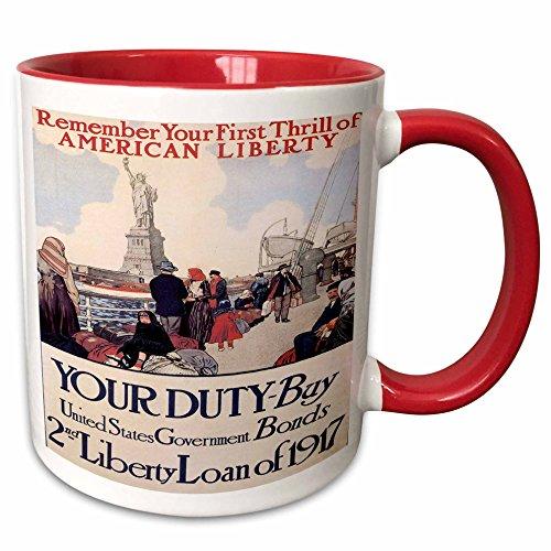 3dRose BLN Vintage World War I and World War II Posters - Vintage Your Duty Buy US Government Bonds Advertising Poster - 15oz Two-Tone Red Mug (mug_149389_10)