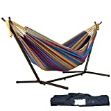 Double Hammock ,Hmlai Patio Yard and Beach Outdoor Double Hammock With Space Saving Steel Stand Up to 450lbs Includes Portable Carrying Case (Tropical)