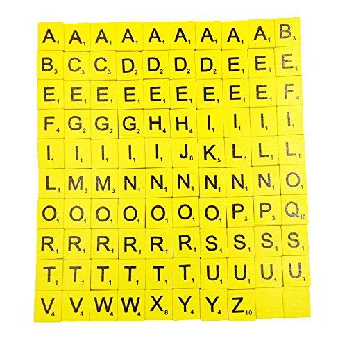 Jiliオンライン100ピース木製大文字パズルタイルブロック装飾子供教育おもちゃクラフトイエローの商品画像