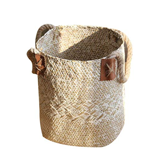 Foldable Organizer Hand-Woven Straw Storage Baskets for Dirty Clothes Fruit Flowers Storage Baskets Desktop Decoration,L White