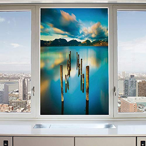 3D Decorative Privacy Window Films,Surreal Landscape with Wood Deck and Clouds in Sky Coastal Charm,No-Glue Self Static Cling Glass Film for Home Bedroom Bathroom Kitchen Office 24x36 Inch