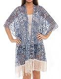 Women's Fashion Swimwear Cover-Ups Top Dress Chiffon Kimono Cardigan with Fringes (314, Aztec&Rose Navy)