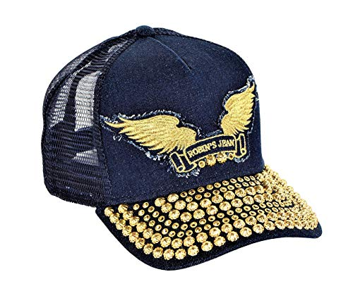 Robin's Jean Cap With Gold Diamond SW and Gold Parachute Curve Bill Snap Back Indigo One Size
