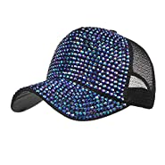 Botrong Women Rhinestone Hats Female Baseball Cap Bling Diamond Hat