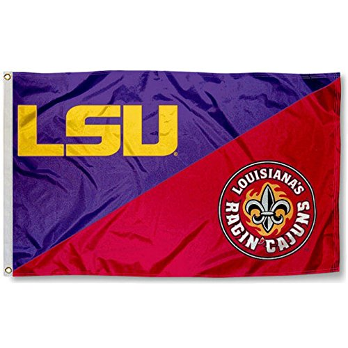 College Flags and Banners Co. UL Lafayette Ragin Cajuns vs. LSU Tigers House Divided 3x5 Flag