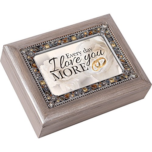 Every Day I Love You More Pewter Jewel Beaded Music Box Plays You Light Up My Life (Music Precious Box Daughter)