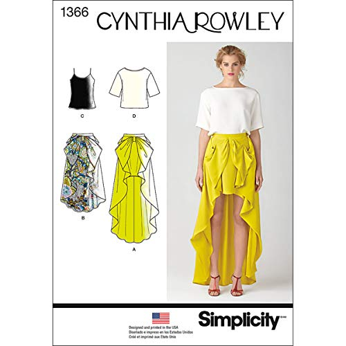 Simplicity Cynthia Rowley Pattern 1366 Misses Skirt in Two Lengths and Tops Sizes -