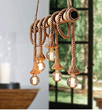 4 Head Vintage Hemp Rope Chandelier Pendant Light Bamboo Ceiling Lamp Fixture