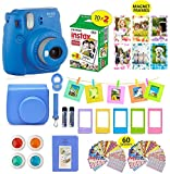 Fujifilm Instax Mini 9 Camera Cobalt Blue Camera + 20 Instant Fuji-Film Shots, Instax Case + 14 PC Instax Accessories Bundle, Fuji Mini 9 Kit Gift, Albums, Lenses, 60 Stickers + Frames by Shutter