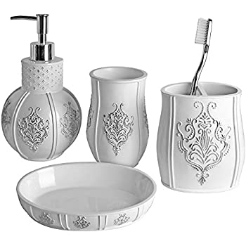 This Item Vintage White Bathroom Accessories 4 Piece Bathroom Accessories Set Bathroom Set Features French Fleur De Lis Motifs Soap Dispenser
