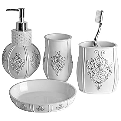 "Vintage White Bathroom Accessories, 4 Piece Bathroom Accessories Set, Bathroom Set Features French Fleur-De-Lis Motifs, Soap Dispenser, Toothbrush Holder, Tumbler & Soap Dish - Bath Gift Set - 4-PIECE BATHROOM ACCESSORY SET: includes everything you need for personal grooming in the bathroom. Includes 7.75"" x 4.25""x 4.25"" lotion/soap dispenser a 4.25"" x 4"" x 2.25"" toothbrush holder that can also hold toothpaste, 4.5"" x 3"" x 3"" tumbler for keeping water or seasonal flowers, and a 1"" x 5.75"" x 3.75"" Soap dish. TIMELESS ELEGANCE and UNIVERSAL COLOR: the curves, raised details of the silver colored French fleur delis motif combine to give the design a vintage look and feel that brings sophistication and style to any bathroom. Whatever your bathroom color scheme, this pristine white bathroom set will blend in perfectly; enhancing your décor with the splendor of French design that'll definitely impress your guests ALL-INCLUSIVE BATHROOM ACCESSORY SET: whatever you require for your personal grooming in the bathroom is included. This set features a dual purpose dispenser, soap dish toothbrush holder and tumbler. - bathroom-accessory-sets, bathroom-accessories, bathroom - 51N%2B4ti8eIL. SS400  -"