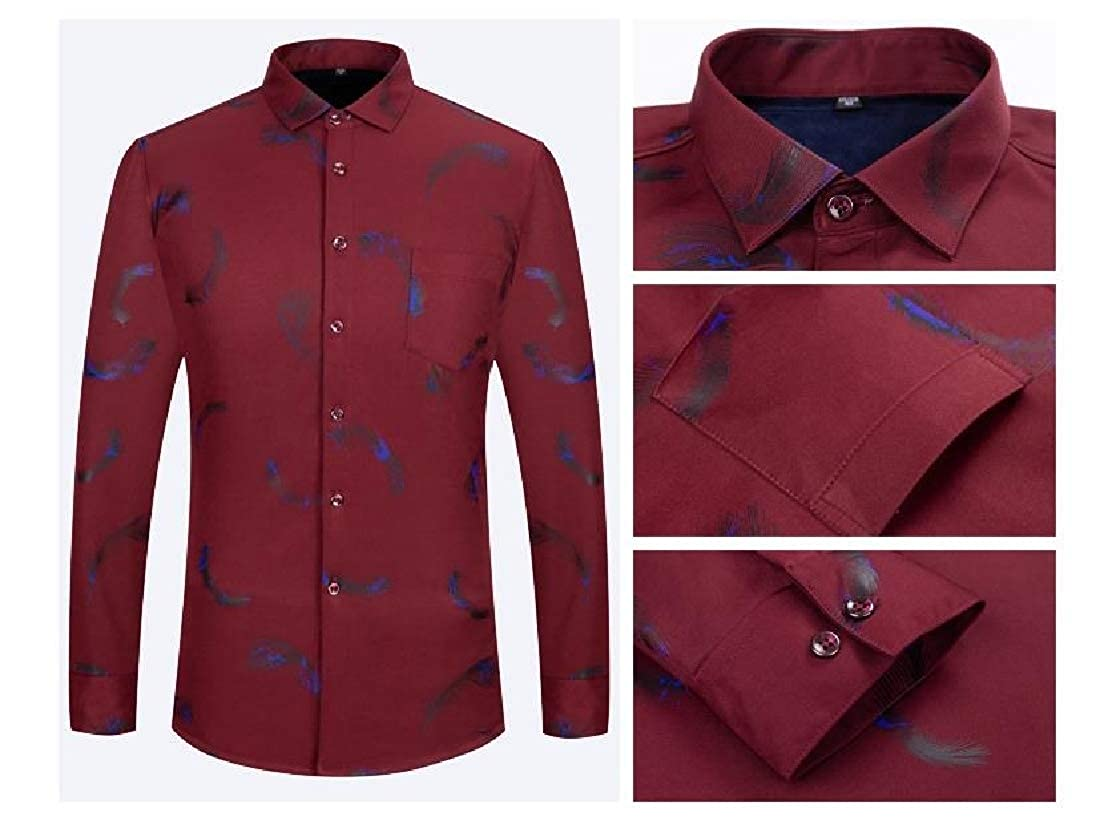 YUNY Men Stretch Classic-Fit Long Sleeve Plus-Size Warm Dress Shirt AS2 2XL