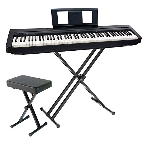 Yamaha P45 88-Key Weighted Action Graded Hammer Standard Contemporary Digital Piano Keyboard in Black with AMW Stereo Sampling Sound with Yamaha PKBB1 Adjustable X-Style Bench and PKBX2 Stand by Yamaha