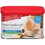 General Foods International Sugar Free Naturally Decaffeinated French Vanilla Cafe Coffee Drink Mix, 4.4-Ounce Tins (Pack of 6)