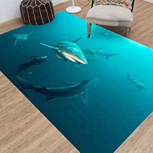 Area Rugs,Jesmacti Rug Multi-Style Modern Interior Decoration Rug,Super Soft and Comfortable Rug, Oceanic Black Tip Shark Suitable for Living Room Bedroom Kindergarten Dormitory (5X7 Feet)