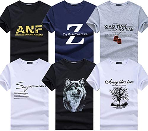 (ハビー) メンズ 6枚セット 6枚組 Tシャツ 半袖 セット まとめ買い カジュアルプリント 綿 綿素材 選べる22タイプ 大きいサイズ (22タイプ)