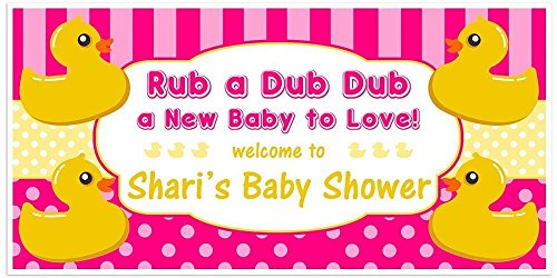 Rubber Ducky Baby Shower Banner Personalized Party Decoration - PINK Ducky Personalized Birthday Banner