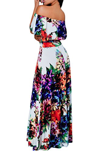 Off Party Sailed Happy S Dress 61189 Shoulder Print 263 Homecoming XL Flowers Maxi Ruffle XqSwAUEnw