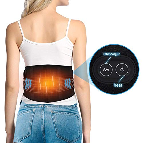 Control Back Pain - Waist Heating Pad, Massager Motor Thermal Heat Therapy Wrap Hot Compress for Lower Back Arthritis Cramps Arthritis Pain Relief Injury Recovery 1 Button Control 3 Heat