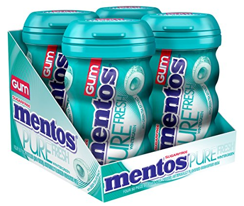 Mentos Pure Fresh Sugar-Free Chewing Gum with Xylitol, Wintergreen, 50 Piece Bottle (Pack of 4) by Mentos...