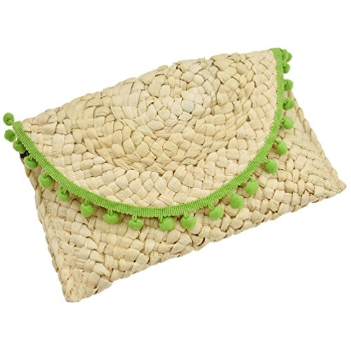 Green Hair Tassels Elegant Bag Ball Handbag Gifts Knitted Clutch Women Straw Beach Lychee Ball nFqARYgY