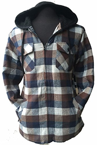 (FLJ700-U-M) Big & Tall Men's Full Zip Hooded Flannel & Sherpa Lined Long Sleeve Soft Fabric Warm Hoodie Jacket (U-NAVY-BROWN)