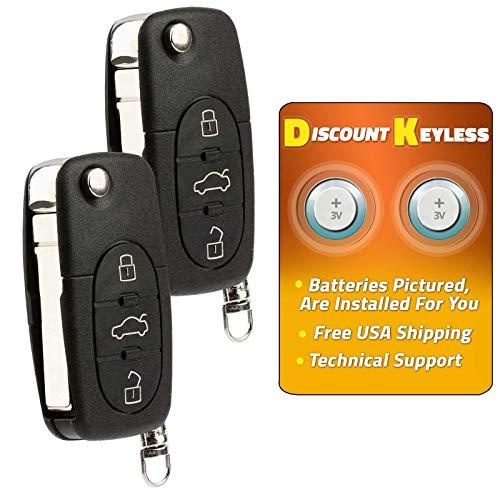For 98-01 Volkswagen Beetle, 01-02 Cabrio, 09-01 Golf Jetta Passat Keyless Entry Remote Key Fob 4btn HLO1J0959753F, HLO1J0959753T - 2 PACK ()