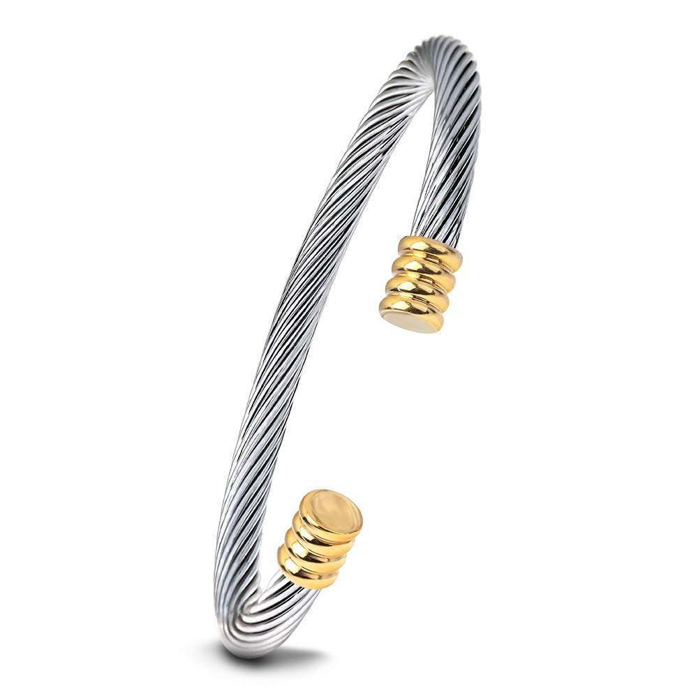 HuaJade Cuff Bangle Bracelets for Women Couples Mom Friendship Initial Charm Cool Mens Jewelry Gift