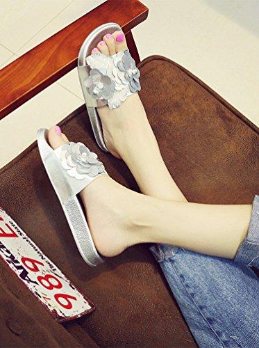 YUCH Y Exterior Flores Diariamente Señoras Interior yin Antideslizamiento Zapatos Plana Zapatillas r4YqHwXr