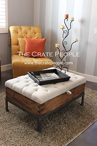 Vintage European Grain Sack – Button Tufted Ottoman - CRATE Coffee Table with Storage Inside (Coffee Table Unfinished Metal)