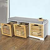 SoBuy® Storage Bench with 3 Drawers & Seat Cushion, Shoe Cabinet Storage Unit Bench, FSR23-WN Review