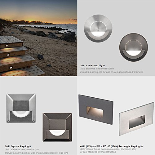 WAC Lighting 4011-30BZ WAC Step & Wall 5 inch Ledme 12V Rectangle Step & Wall Light 3000K Soft White In Bronzebronze