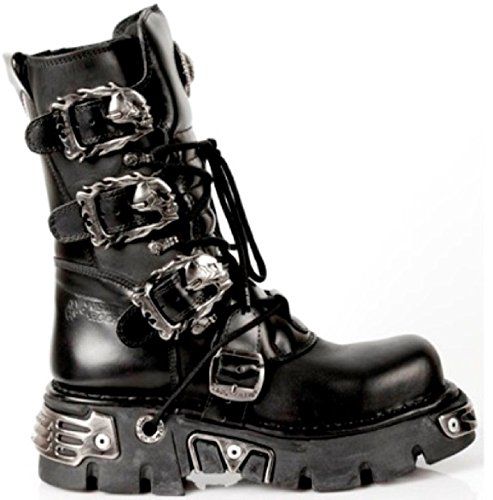 New Rock Unisex Noir mollet Bottes avec Skull Buckles - Flaming Skull Designs