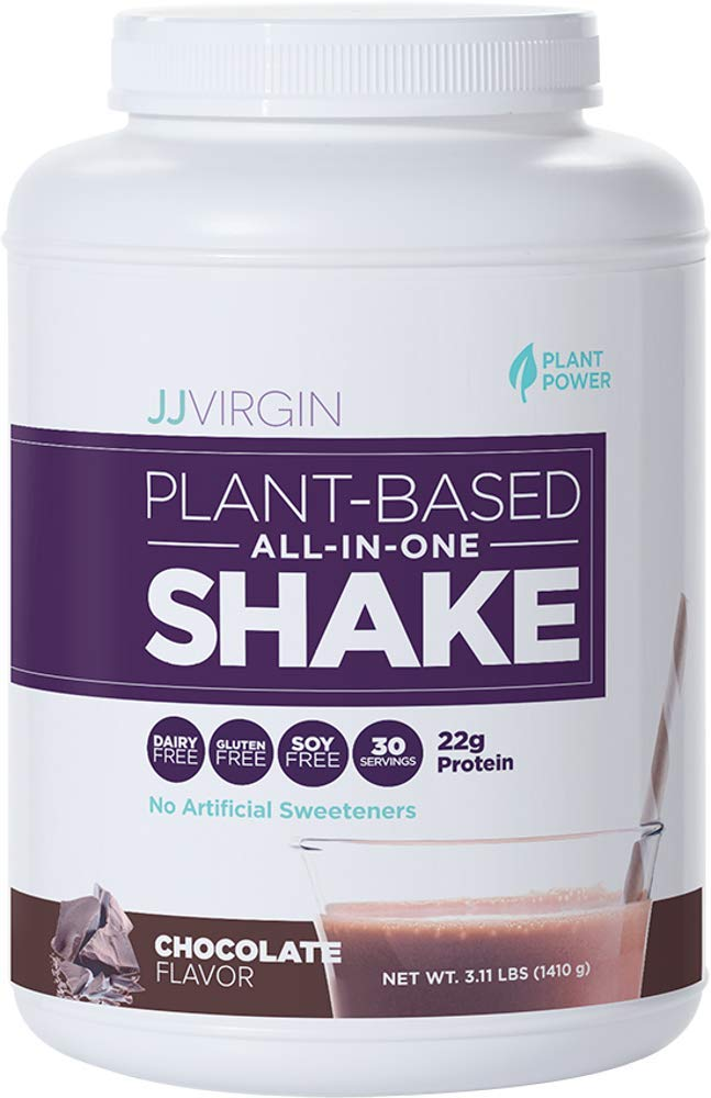 JJ Virgin Chocolate All-in-One Shake, Plant-Based Protein Powder, 30 Servings,3.11 lbs.