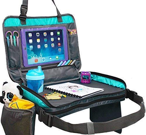 Kids Travel Tray with Versatile Detacheable Top & Bottom Parts for Best fit. 4 in 1 Car Seat Organizer, Lap Table, Carry Bag and Large Tablet Holder for Toddlers. New Improved Odorless Foam Insert