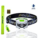 BEST LED Headlamp, 4 Modes, Bright White Light With Red Light, Super Bright, Water Resistant, Perfect For Kids & Adults, Get 2 Free Wristband Reflector, 3AAA Batteries Included (WHITE/GREEN)- SAMLITE