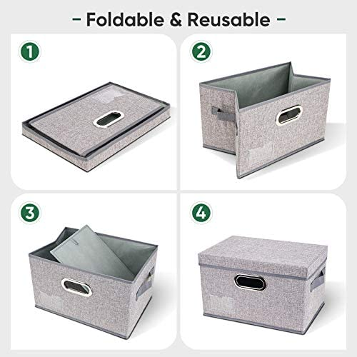 BALEINE Storage Bins with Lids (5pack Gray Medium), Foldable Linen Fabric Storage Boxes with Lids, Collapsible Closet Organizer Containers with Cover for Home Bedroom Office