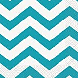 Teal Chevron Paper Napkins, 16ct