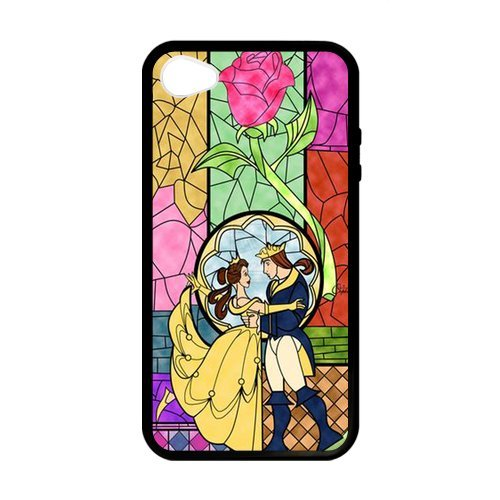 Generic iPhone 4,4S Romantic Beauty And The Beast Design Black Case Cover for iPhone 4,4S (Laser (Cute Coiples)