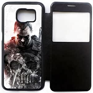 Wunatin Ultra Thin Windows View Flip Leather Case Cover For Samsung Galaxy S6,Punisher Samsung Galaxy S6 Cell Phone Case,BA-7755903